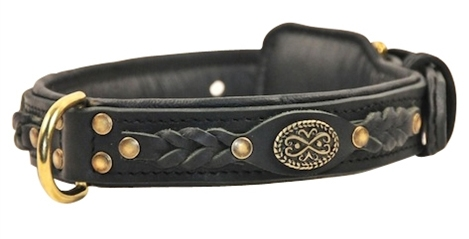 Rolled Braided Leather Dog Collar