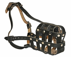 """Leather Basket"". Leather Basket Padded Dog Muzzle.