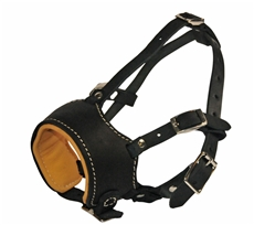 "DTM88. ""Royal"" Leather Dog Muzzle. Nappa Leather padded Dog Muzzle.
