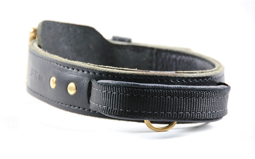 Leather Agitation Collar With Handle Simple Leather Dog