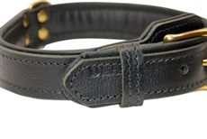 Italian Tailor Black | Leather Dog Collar