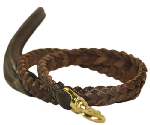 Braided Leather Leash Rolled Leather Dog Lead With Round