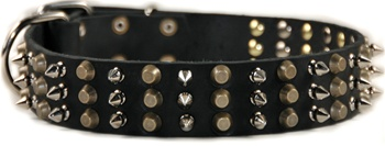 3+3 Spiked Leather Collar